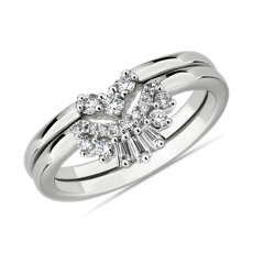 Set of Two Baguette Crown and Chevron Stackable Wedding Rings in 14k White Gold (.23 ct. tw.)