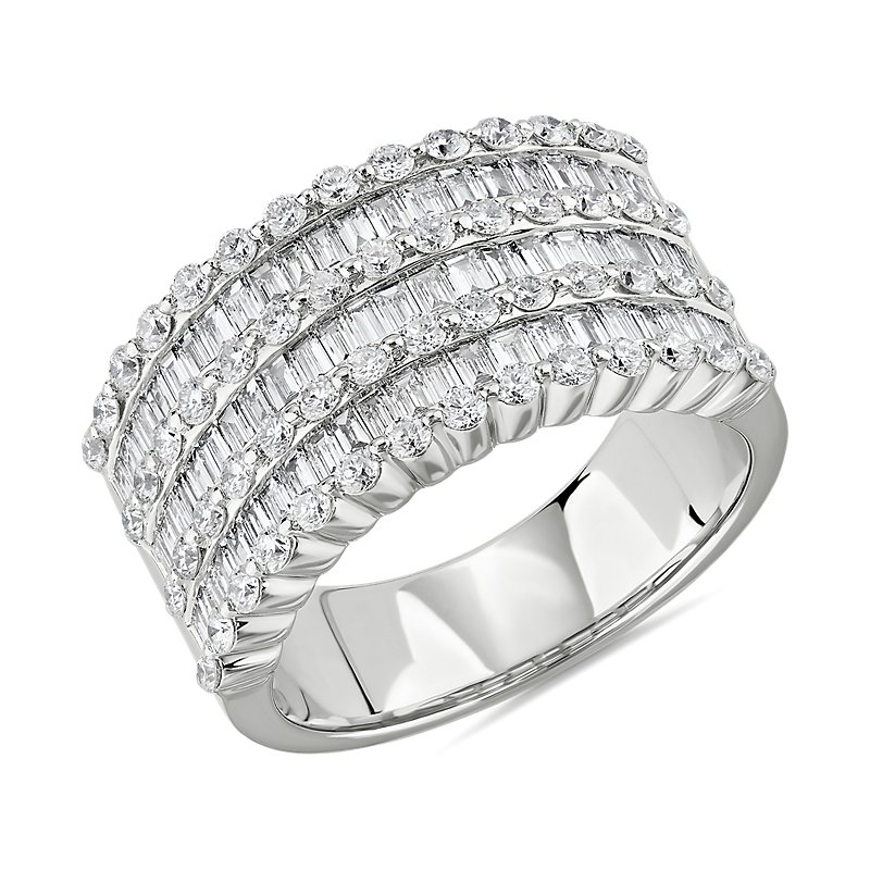 Seven Row Round and Baguette Diamond Ring in 14k White Gold (1 3/