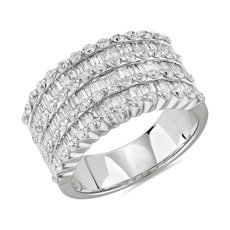 NEW Seven Row Bague en diamant serti rond et baguette in or blanc 14 carats (1 3/4 carats, poids total)