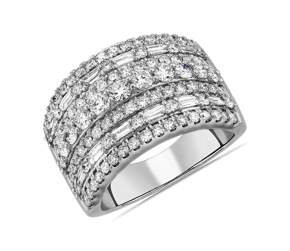 Seven Row Round and Baguette Fashion Ring in 14k White Gold (1.94 ct. tw.)