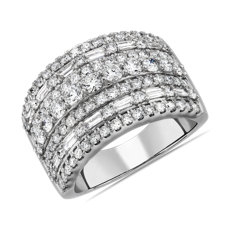 NEW Seven Row Round and Baguette Fashion Ring in 14k White Gold (2 ct. tw.)
