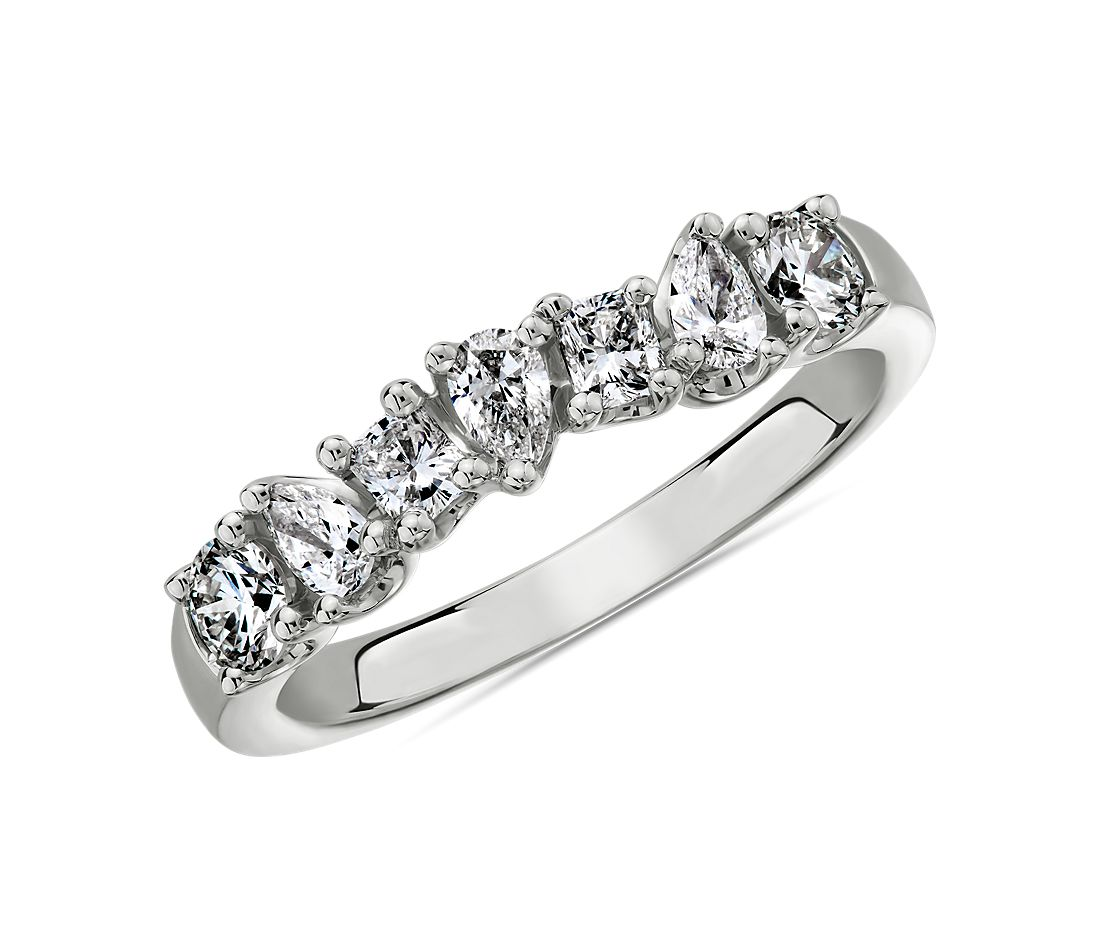 Seven Stone Mixed Shape Fancy Diamond Ring in 14k White Gold - I/SI2  (3/4 ct. tw.)