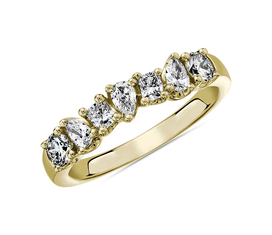 Seven Stone Mixed Shape Fancy Diamond Ring in 14k Yellow Gold - I/SI2 (0.73 ct. tw.)