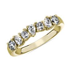 NUEVO Anillo con siete diamantes de diversas formas de fantasía en oro amarillo de 14k - I/SI2 (0,73 qt. total)