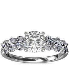 新款铂金七石椭圆形钻石订婚戒指(1.0 克拉总重量)