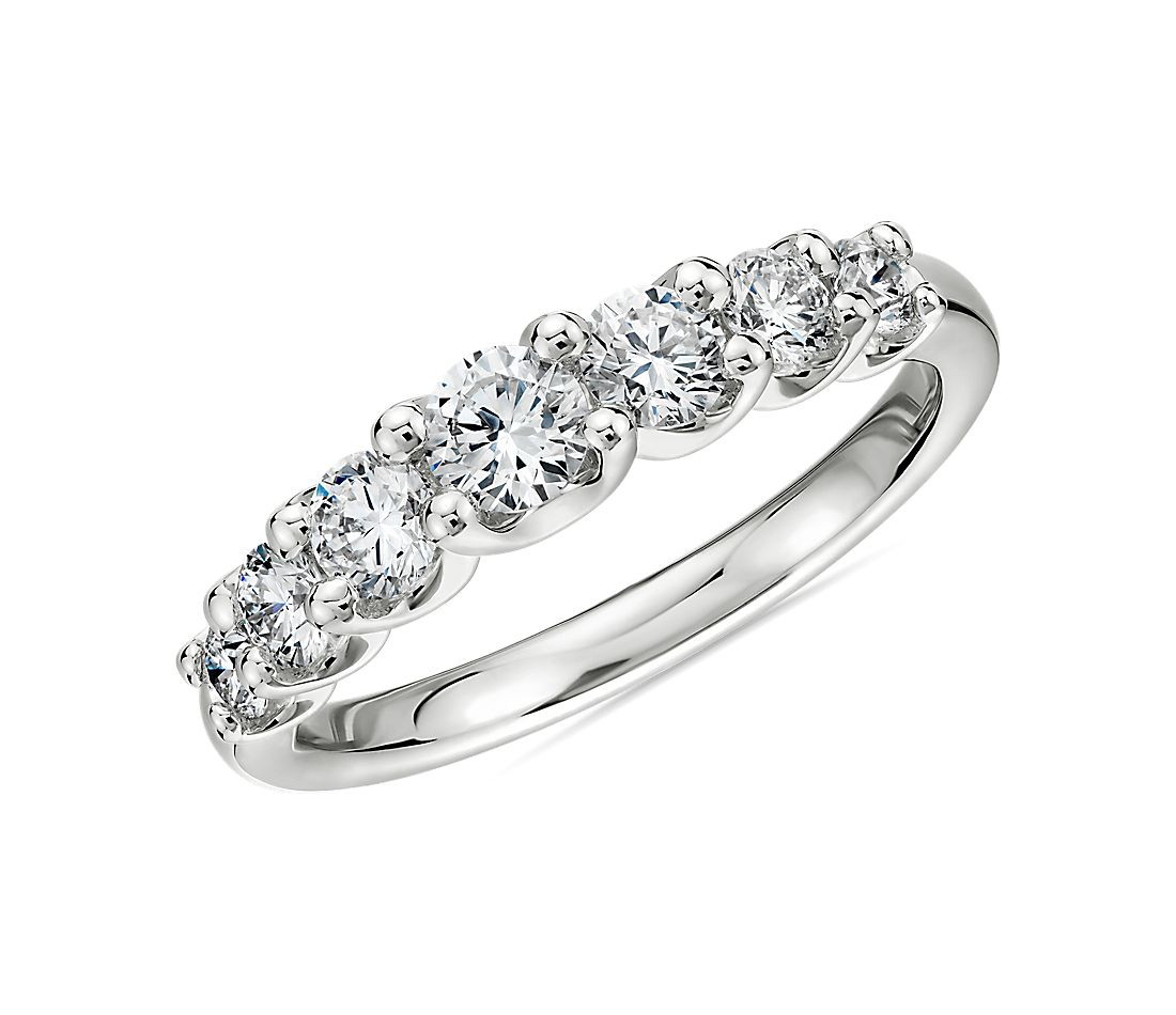 Seven Stone Ribbon Profile Graduated Diamond Ring in 18k White Gold- H/SI2 (3/4 ct. tw.)