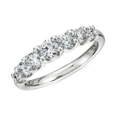 NEW Seven Stone Ribbon Profile Graduated Diamond Ring in 18k White Gold (0.77 ct. tw.)