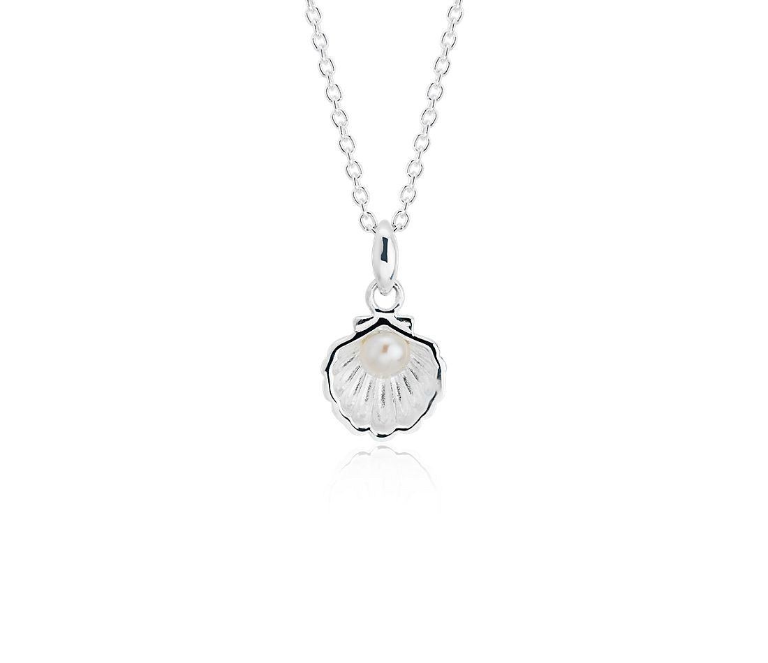 Shell Pendant with Mini Freshwater Cultured Pearl in Sterling Silver