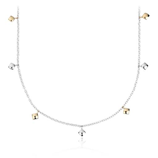 shimmer station necklace in 18k yellow gold and sterling