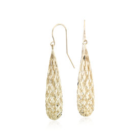 Shimmer Teardrop Earrings in 14k Yellow Gold