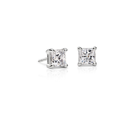 Blue Nile Signature Princess-Cut Diamond Stud Earrings in Platinum (1.60 ct. tw.)