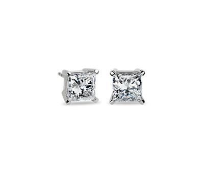 Blue Nile Signature Princess-Cut Diamond Stud Earrings in Platinum