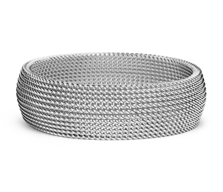 Wide Mesh Bracelet in Sterling Silver