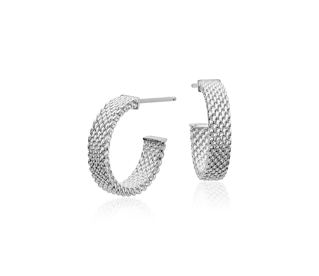 "Mesh Hoop Earrings in Sterling Silver with 14k White Gold Posts (5/8"")"