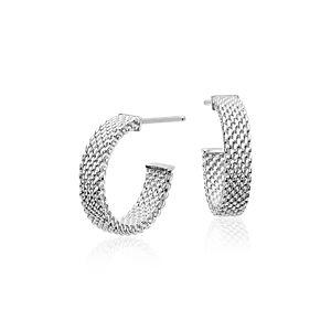 925 純銀網眼耳環連14k 白金柱(5/8 英寸)