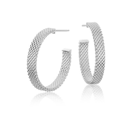 "Mesh Hoop Earrings in Sterling Silver with 14k White Gold Posts (7/8"")"