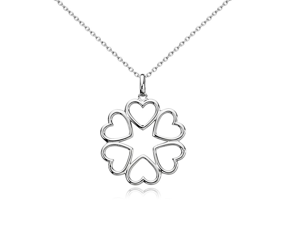 Hearts Medallion Pendant in Sterling Silver