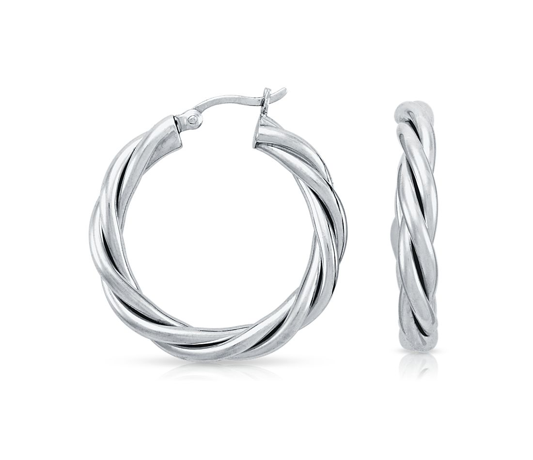 "Twisted Hoop Earrings in Sterling Silver (1 1/8"")"