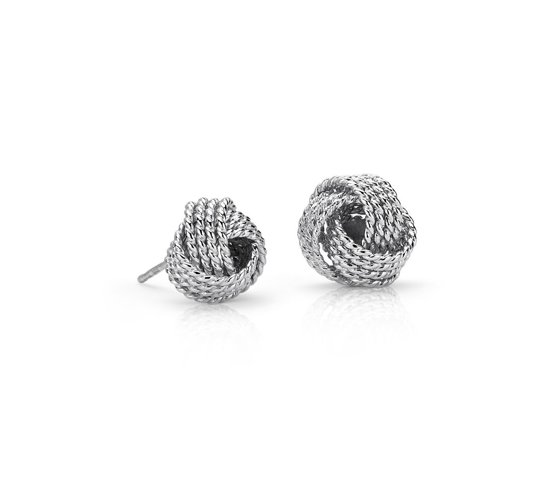 Roped Love Knot Stud Earrings In Sterling Silver