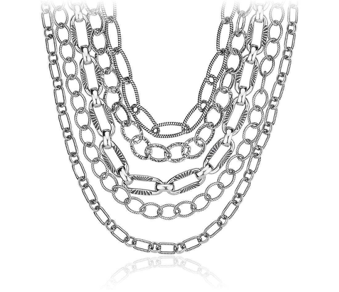 layered chain necklace in sterling silver blue nile