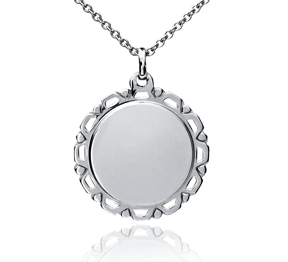 Colgante con forma de medallón de estilo vintage en plata de ley