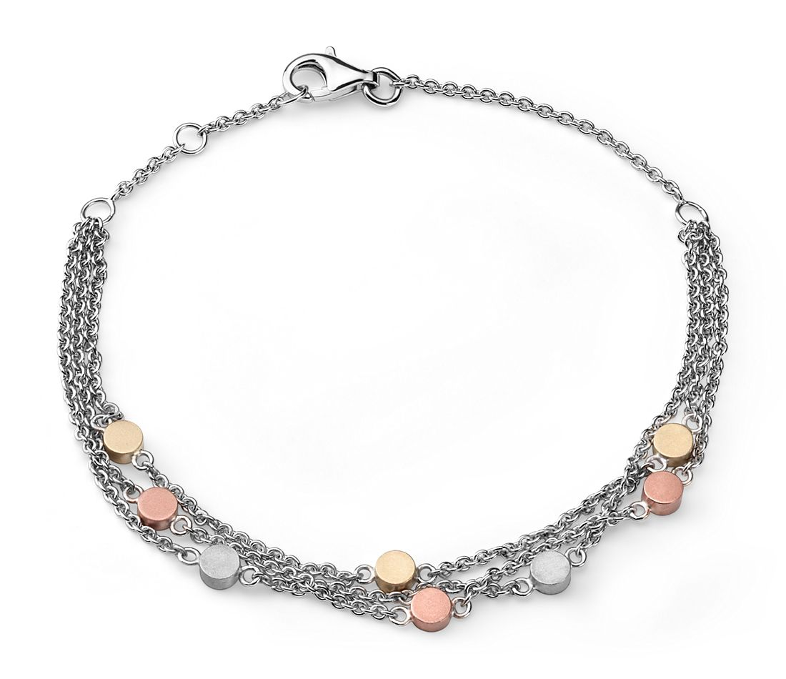 Three Row Bracelet in Sterling Silver, 14k Rose and Yellow Gold