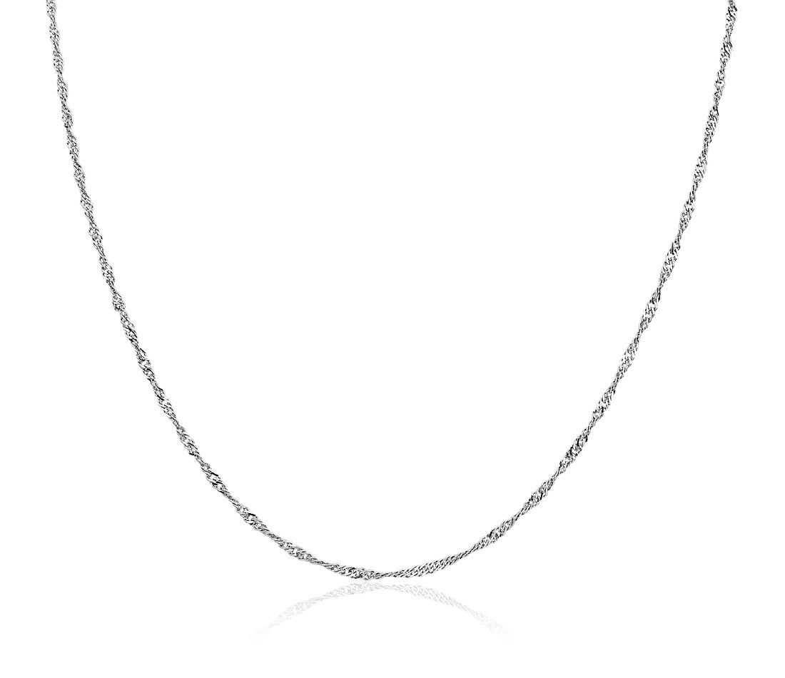 Singapore Chain in 14k White Gold (1.7mm)