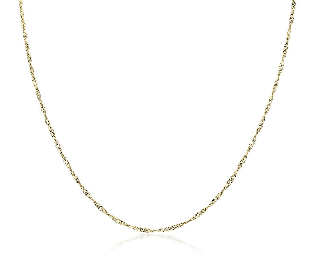 Singapore Chain in 14k Yellow Gold (1.7mm)