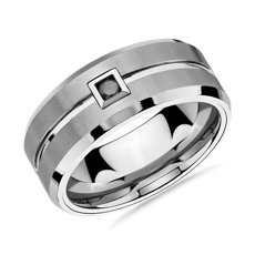 Single Black Diamond Wedding Band in White Tungsten Carbide (9mm)