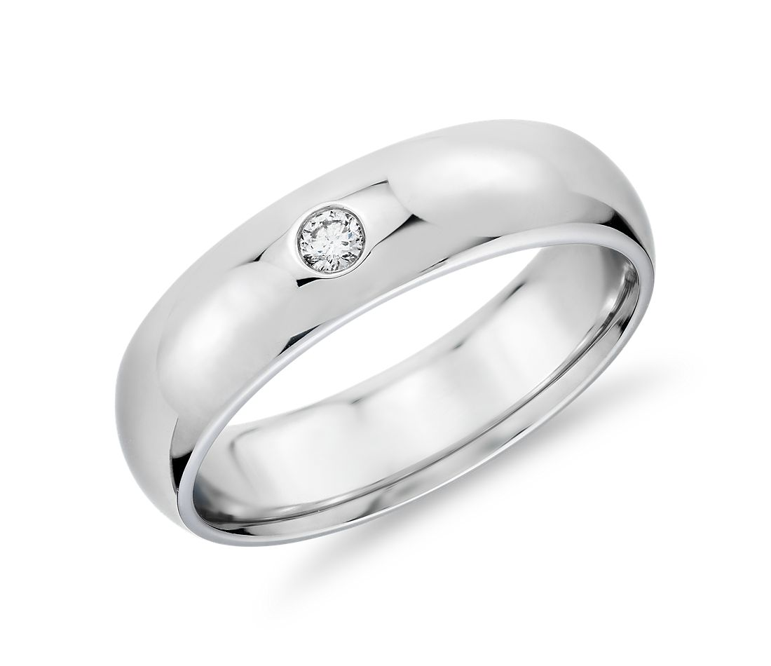 Single Diamond Comfort Fit Wedding Ring in 14k White Gold (6mm)