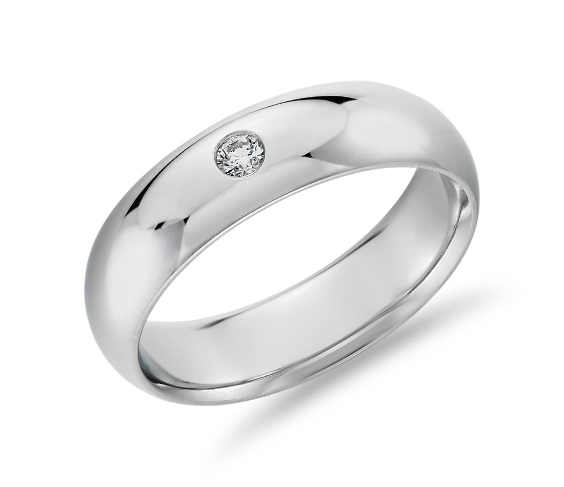 Single Diamond Comfort Fit Wedding Ring in Platinum (6mm)