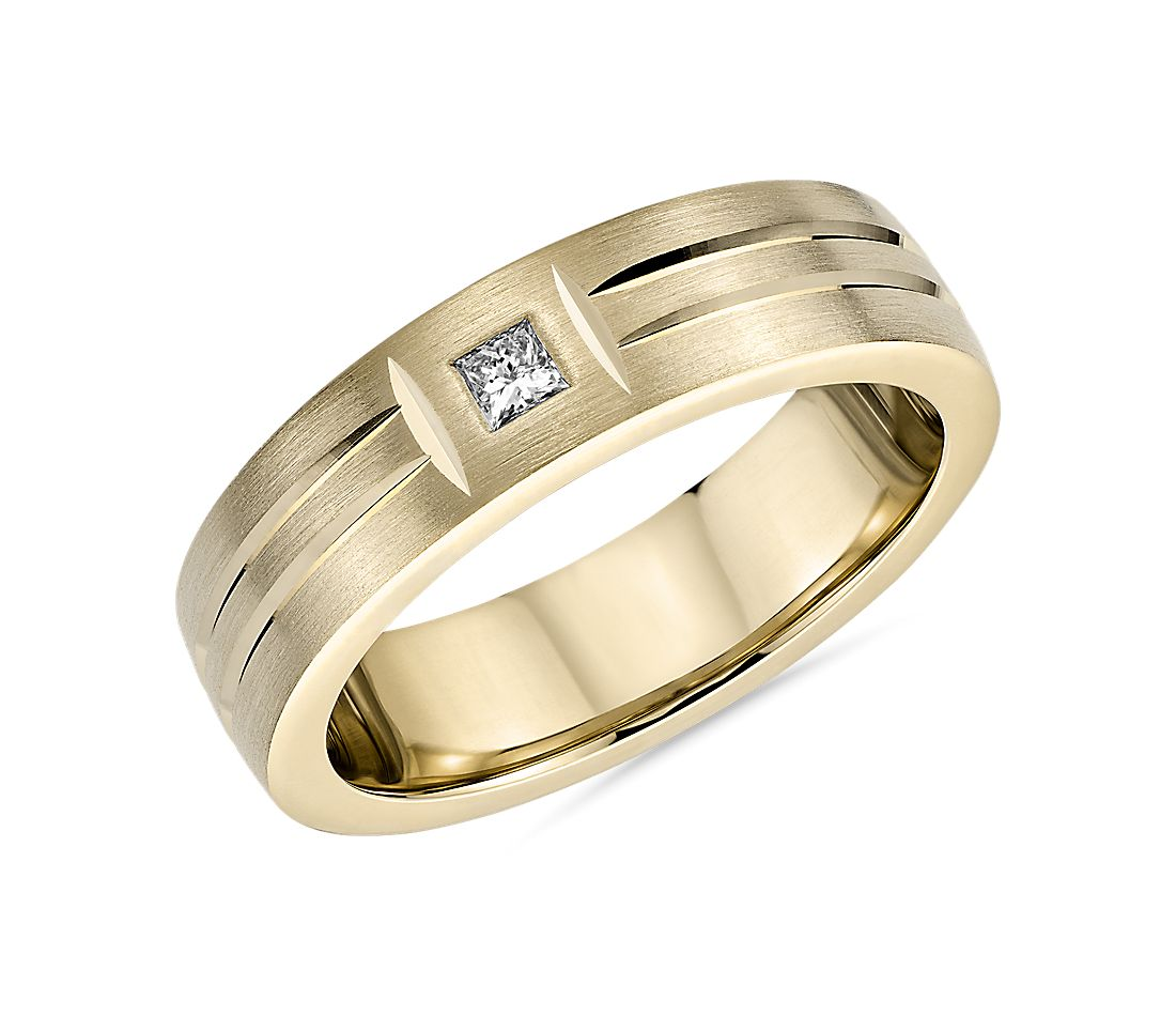 Single Diamond Dual Polish Inlay Matte Wedding Band in 14k Yellow Gold (6mm)