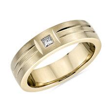 14k 黃金單顆鑽石雙重拋光鑲嵌啞光結婚戒指(6毫米)
