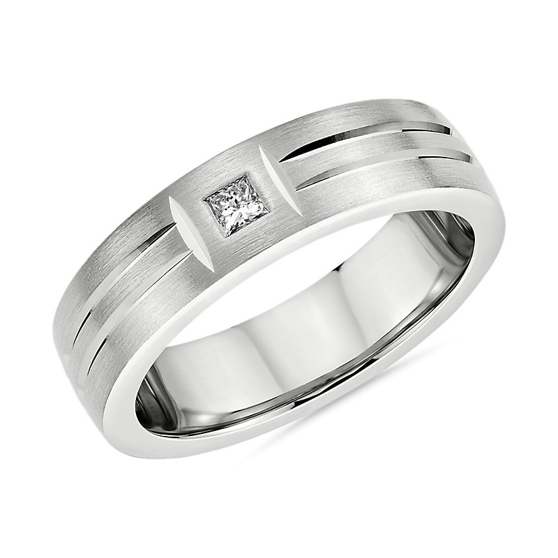 Single Diamond Dual Polish Inlay Matte Wedding Band in Platinum (6mm)