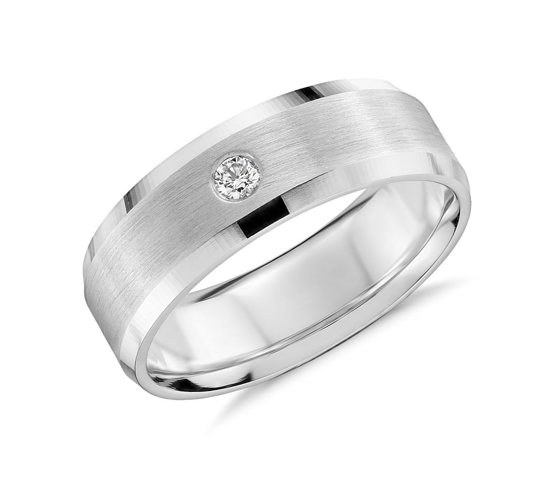 Single Diamond Wedding Ring In 14k White Gold 7mm