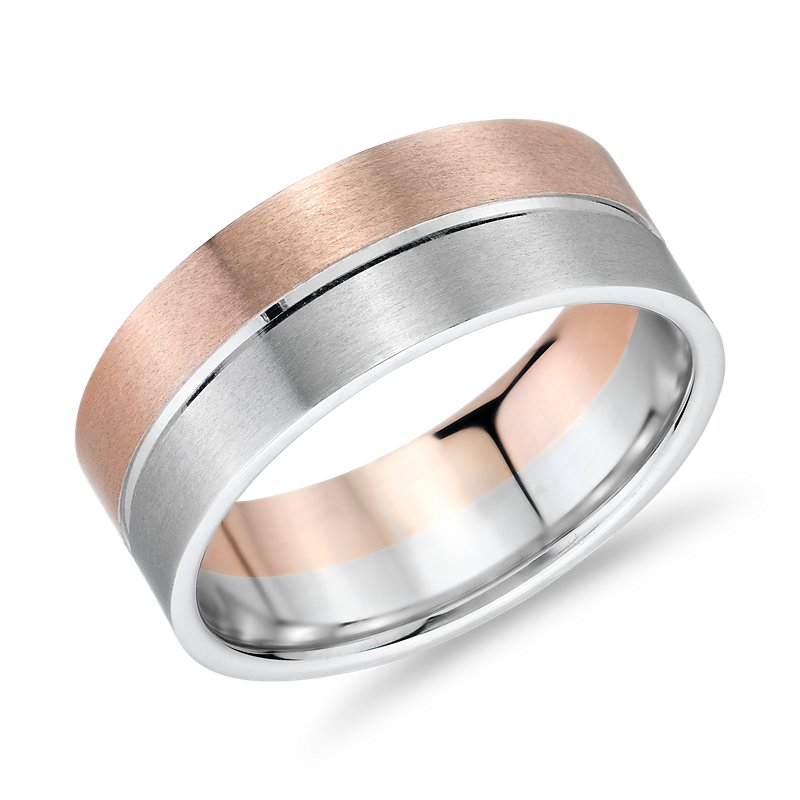 Matte Two-Tone Polished Rail Wedding Band in 14k White and Rose G