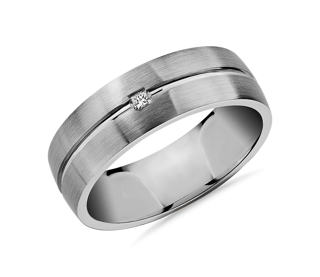 Single Princess Diamond and High Polish Inlay Wedding Band in Platinum (7mm)