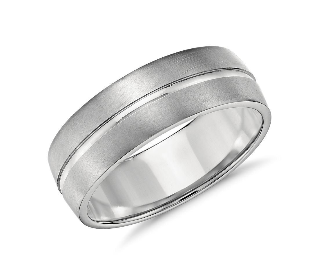 Single Rail Comfort Fit Wedding Ring in Platinum (7mm)