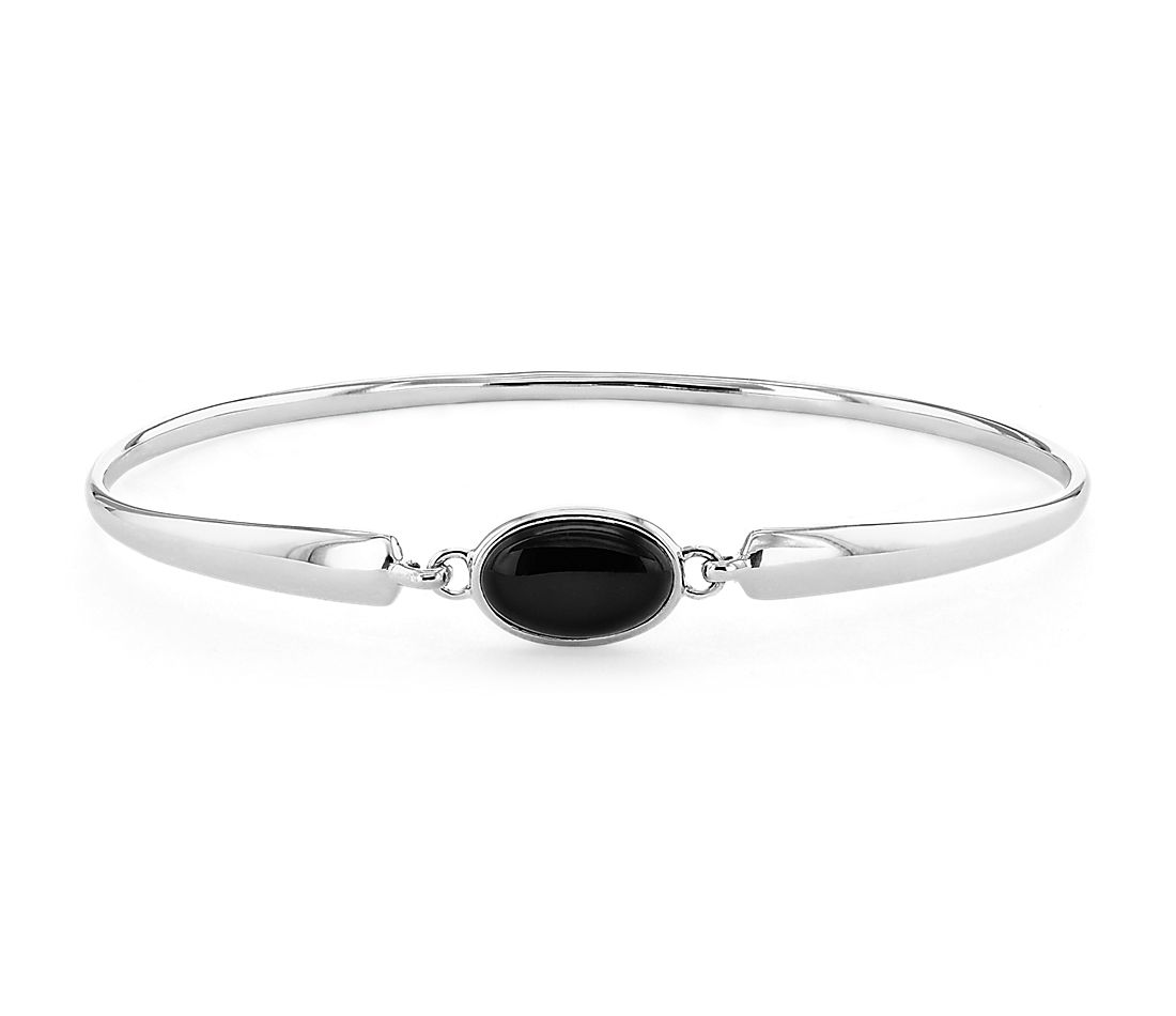 Single Stone Onyx Bangle Bracelet In Sterling Silver 11x7mm