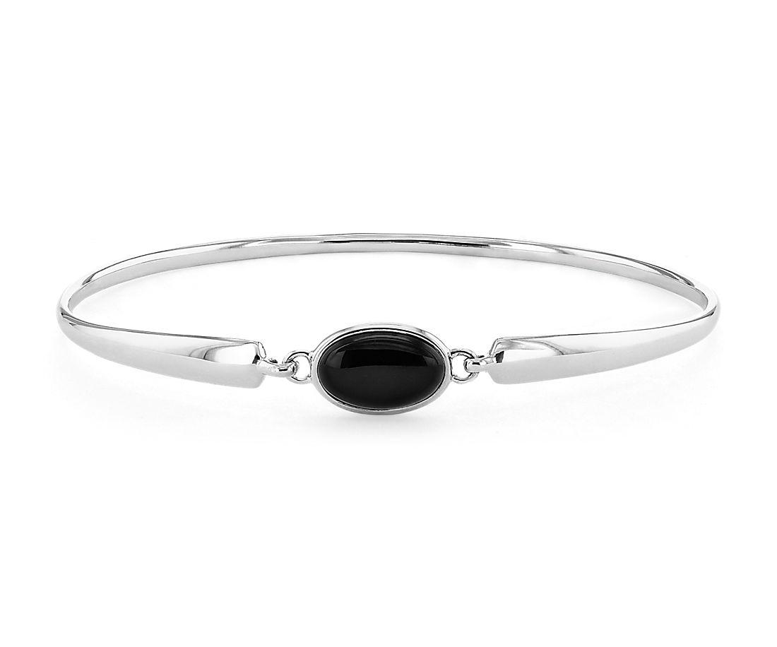 Bracelet jonc avec une pierre d'onyx unique en argent sterling (11x7mm)