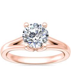 新款 14k 玫瑰金 Siren Solitaire Split Shank Diamond Engagement Ring