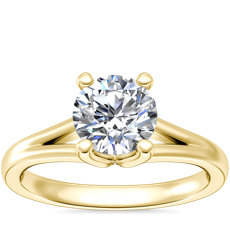 NEW Siren Solitaire Split Shank Diamond Engagement Ring in 14k Yellow Gold