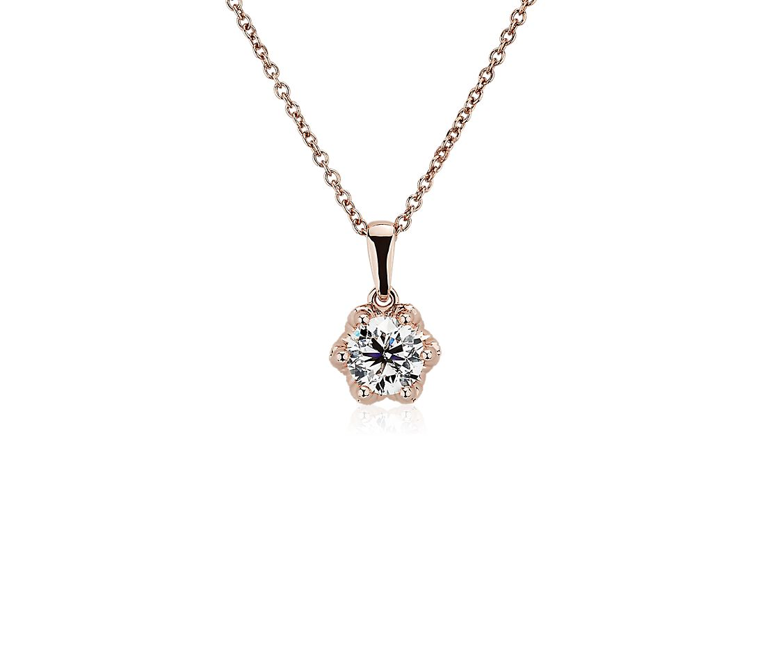 Side Stone Diamond Pendant with Diamond Crown Basket in 14k Rose Gold (3/4 ct. tw.)