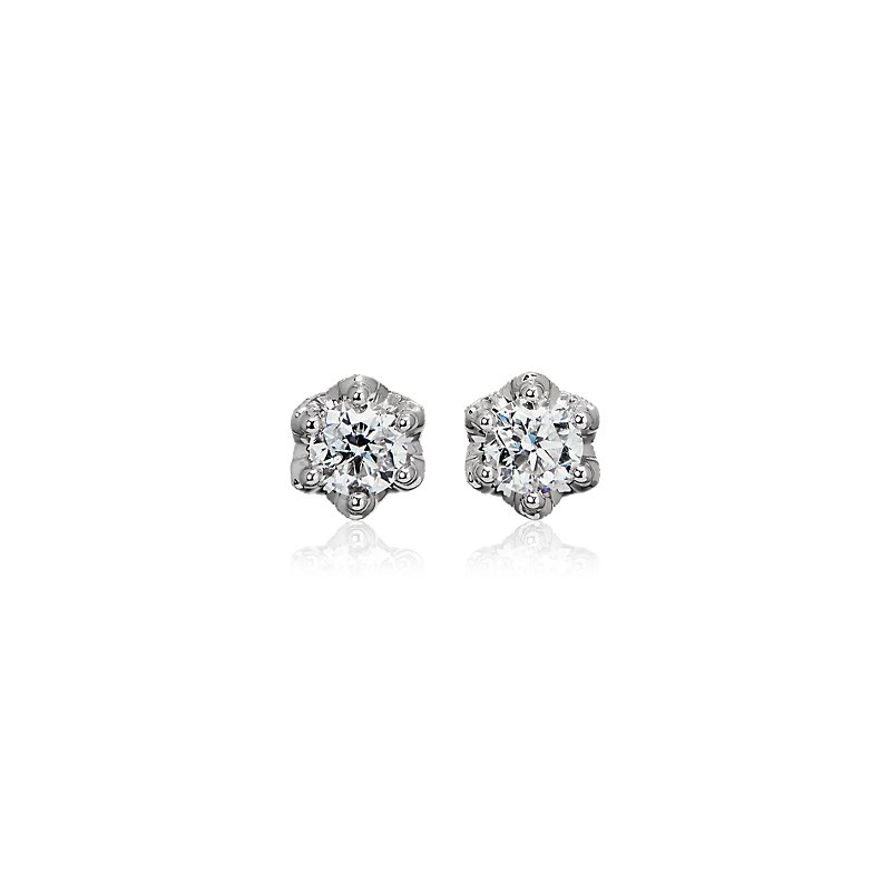 Six Prong Diamond Stud Earrings with Diamond Crown Baskets in 14k White Gold (1 ct. tw.)