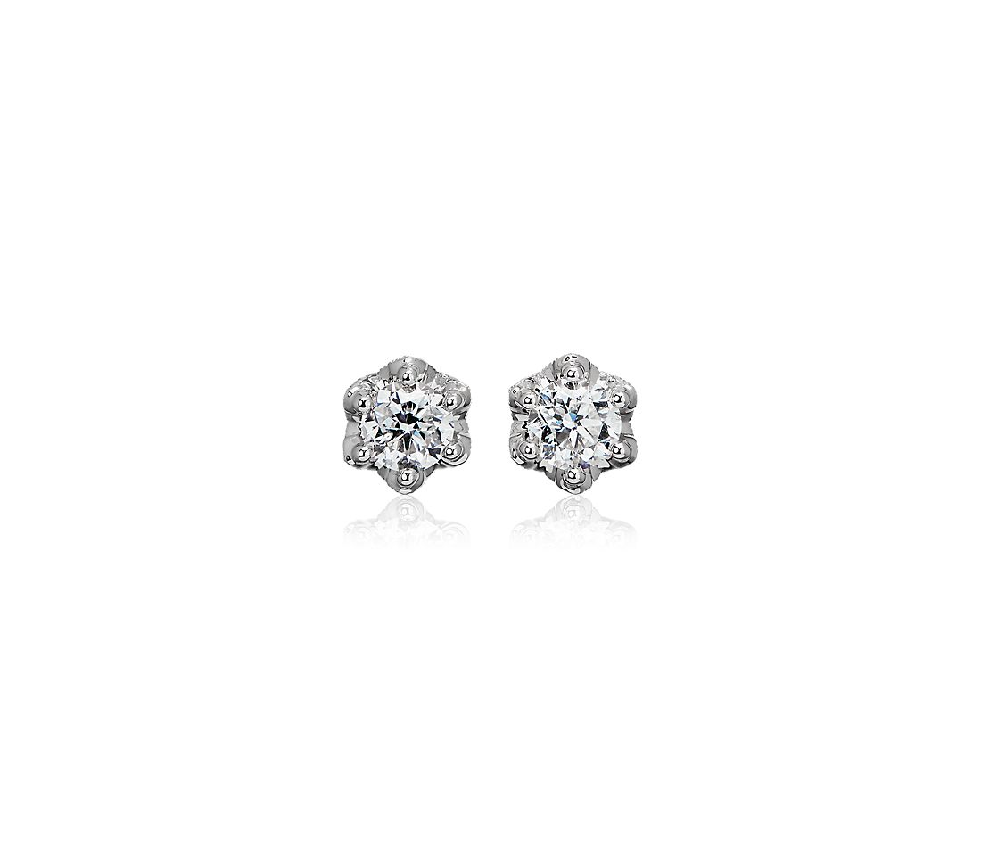 Side Stone Diamond Stud Earrings with Crown Baskets in 14k White Gold (1 ct. tw.)