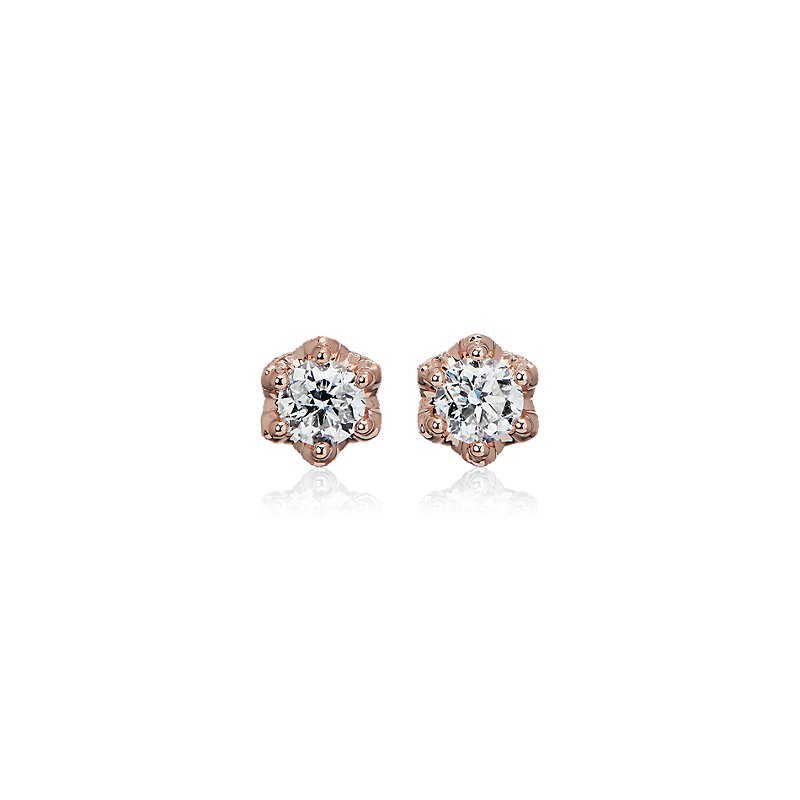 Six Prong Diamond Stud Earrings with Diamond Crown Baskets in 14k Rose Gold (1 ct. tw.)