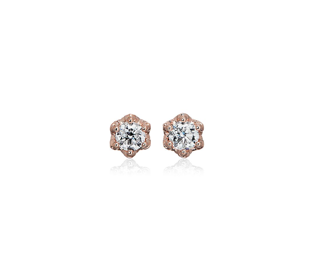Side Stone Diamond Stud Earrings with Crown Baskets in 14k Rose Gold (1 ct. tw.)