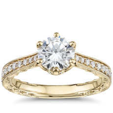 Six-Prong Hand-Engraved Diamond Engagement Ring in 14k Yellow Gold (1/5 ct. tw.)