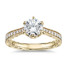 Six-Claw Hand-Engraved Diamond Engagement Ring in 14k Yellow Gold (1/5 ct. tw.)