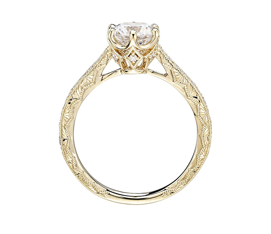 Engagement Rings In Which Hand: Six-Claw Hand-Engraved Diamond Engagement Ring In 14k